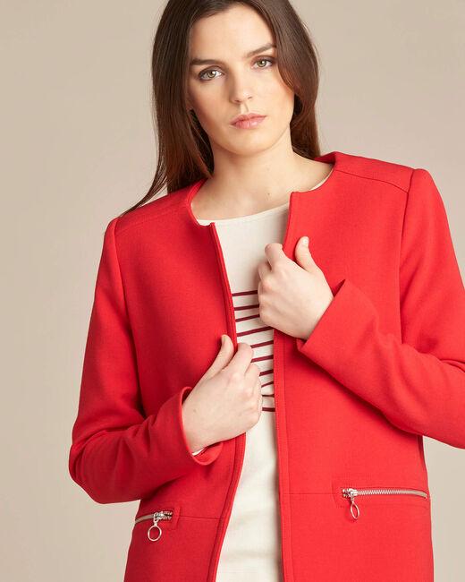 Roter gerader 3/4-Mantel mit Reißverschluss-Details Kaya (1) - 1-2-3