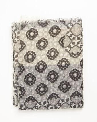Foulard ocre imprimé en laine felice ocre.
