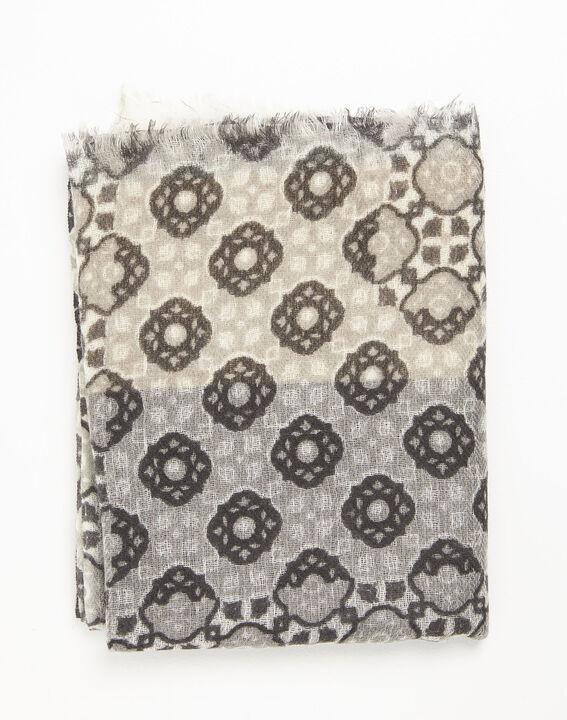Foulard ocre imprimé en laine Felice PhotoZ | 1-2-3