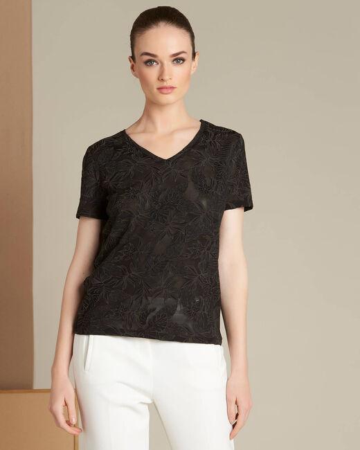 Tee-shirt noir imprimé feuillage Ecorce (2) - 1-2-3