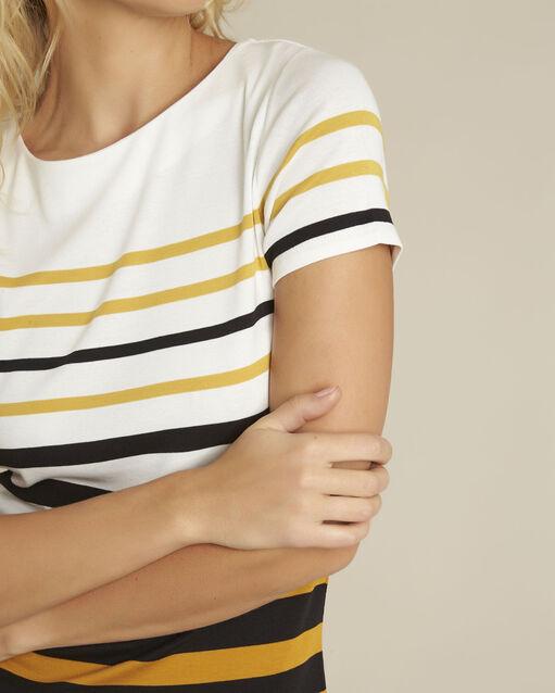 Tee-shirt ambre rayé col rond Gasayat (2) - 1-2-3