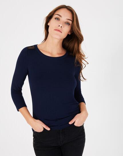Tee-shirt bleu marine dentelle et guipure Banco (3) - 1-2-3