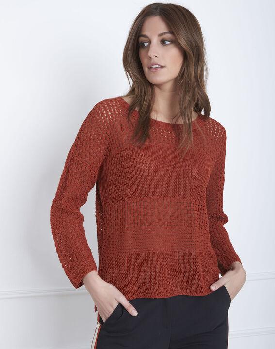 Mahagonifarbener Fantasiestrick-Pullover aus Baumwolle und Leinen Alesia PhotoZ | 1-2-3