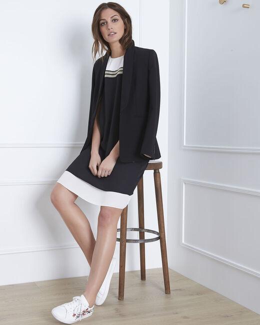 Schwarz-weißes Kleid mit goldenen Details Isola (1) - 1-2-3