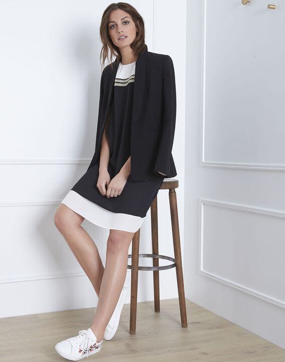Schwarz-weißes Kleid mit goldenen Details Isola (2) - 1-2-3