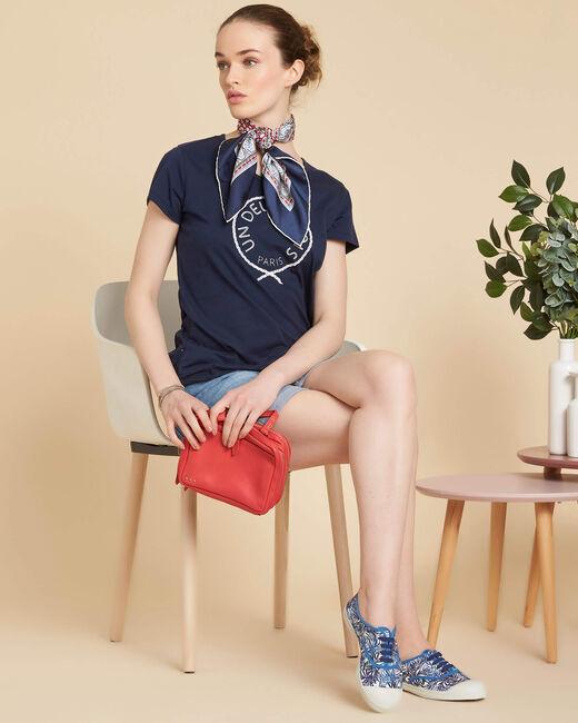 Marineblauw T-shirt van katoen met borduursel Enoeud (1) - 37653