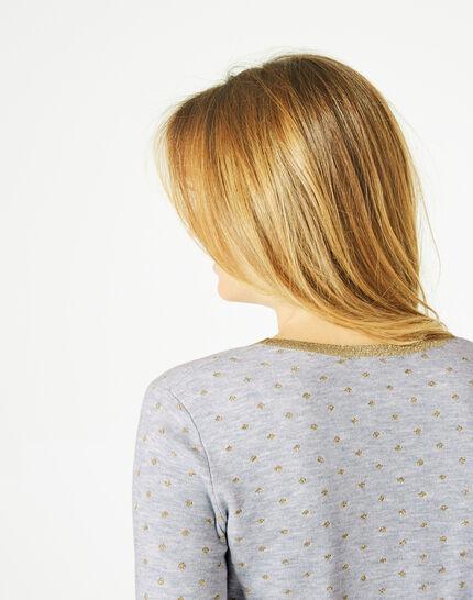 Graumelierter Pullover mit Rundhalsausschnitt und Tupfen Prisme (4) - 1-2-3