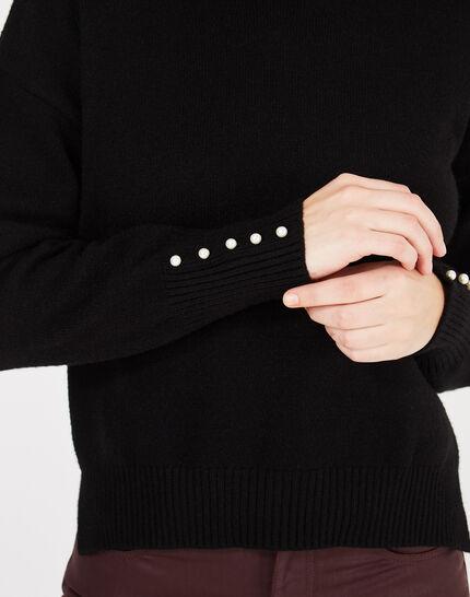 Schwarzer Pullover mit perlenverzierten Ärmeln Pearl (3) - 1-2-3