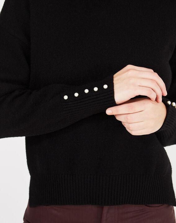 Pull noir avec manches perlées Pearl (3) - 1-2-3