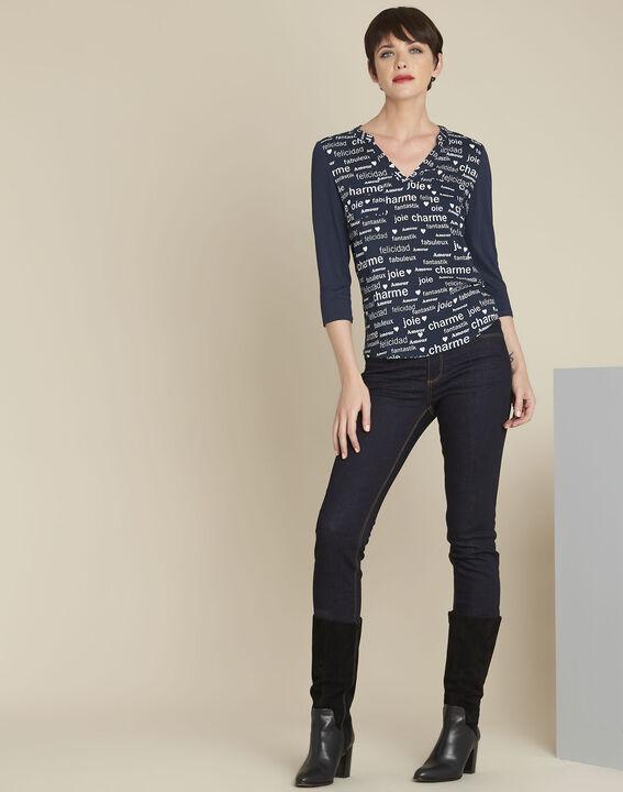 Donkerblauwe blouse met print Amour (2) - 37653