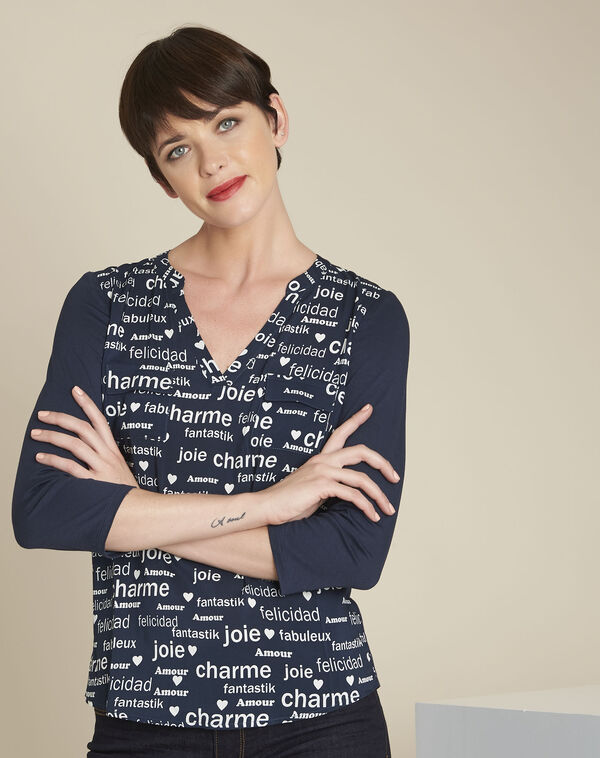 Amour navy printed blouse (1) - 1-2-3