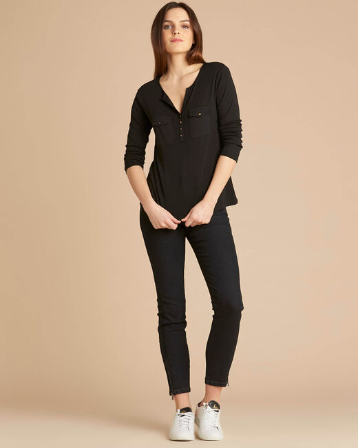 Edith black T-shirt with 3/4 length sleeves (2) - 1-2-3