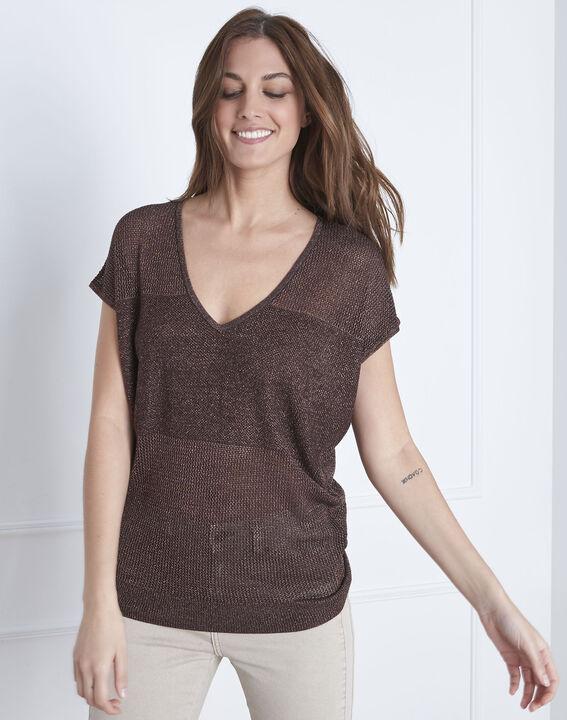 Brauner Pullover mit V-Ausschnitt aus Lurex Amande (1) - Maison 123