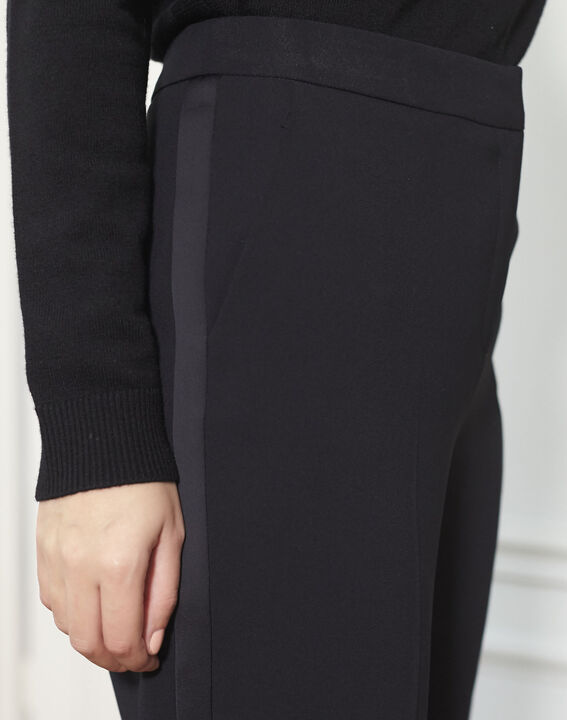 Hutch black cigarette trousers with satin band (3) - 1-2-3