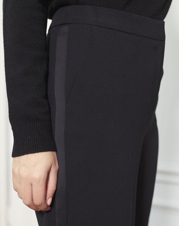 Pantalon cigarette noir bande satin côté Hutch (2) - 1-2-3
