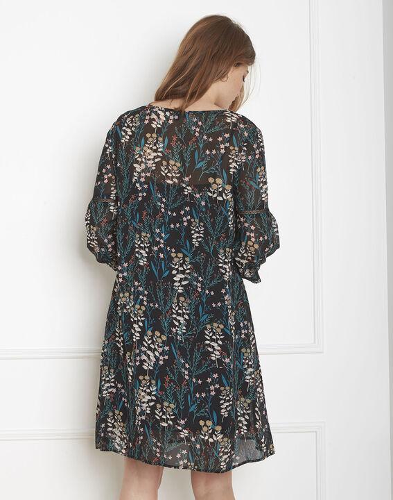 Robe noire imprimé fleuri Lava PhotoZ | 1-2-3