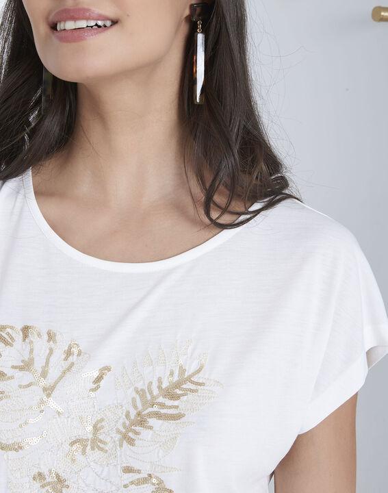 Ecrufarbenes, besticktes T-Shirt Pamplemousse (3) - Maison 123