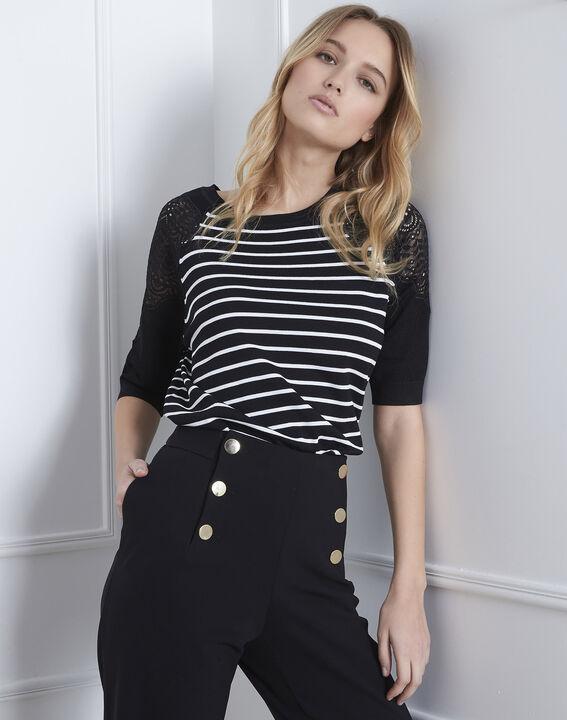 Zwarte, gestreepte trui van kant Amboise PhotoZ | 1-2-3