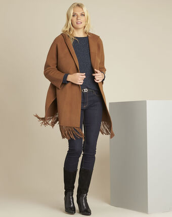 Elisa camel wool mix coat with trimming camel.