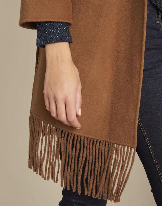 Camelfarbener Mantel mit Fransen aus Wollgemisch Elisa (3) - 1-2-3