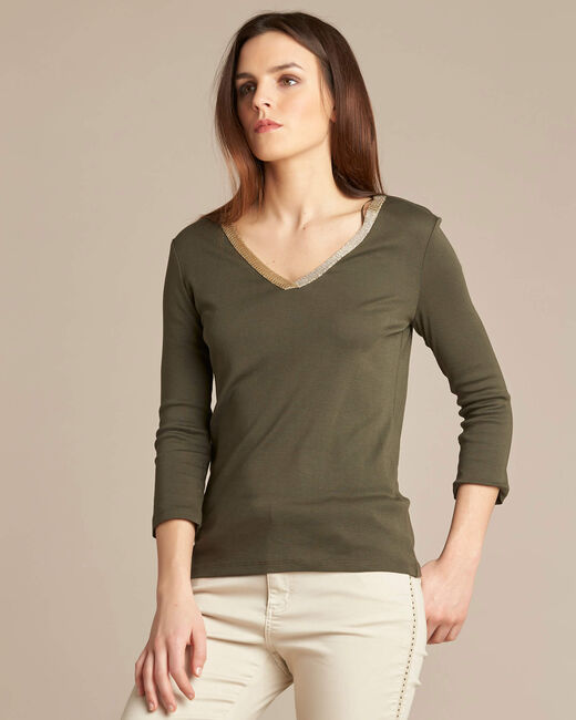 Etincellant khaki and gold T-shirt  with 3/4 length sleeves (2) - 1-2-3