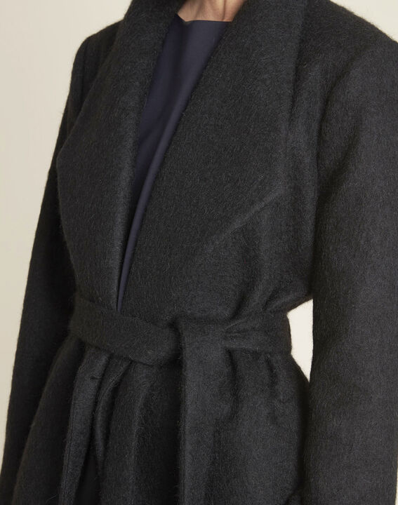 Eliane black boiled wool coat with shawl collar (3) - Maison 123