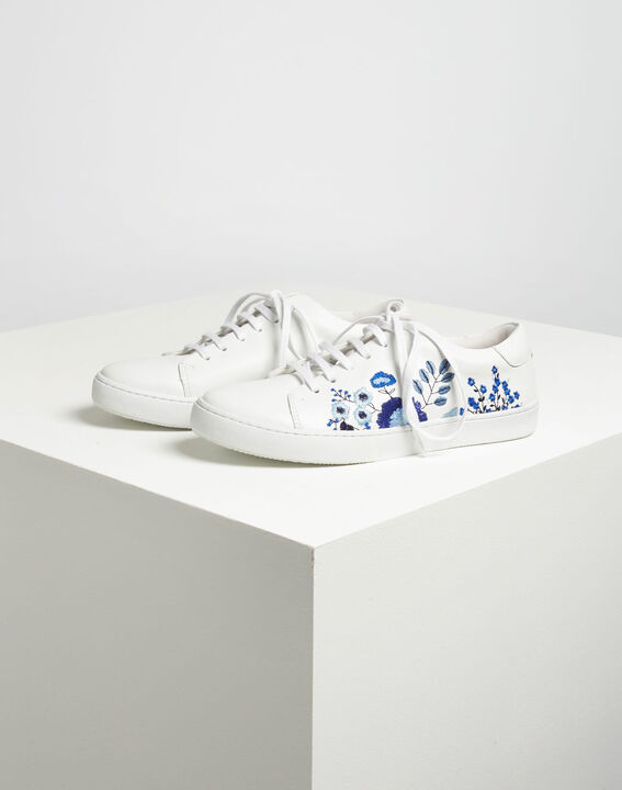 Baskets blanches fleuries en cuir Kristy (4) - 1-2-3
