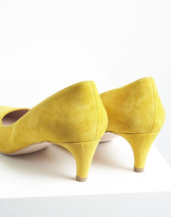 Escarpins jaune en chèvre velours Lili (4) - 1-2-3