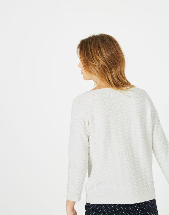 Pop ecru sweater with stunning stitchwork (5) - 1-2-3