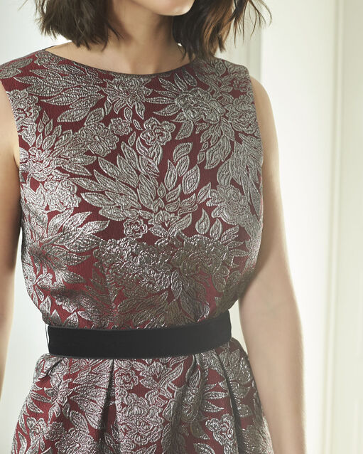 Robe rouge jacquard imprimée Nocturne (2) - 1-2-3