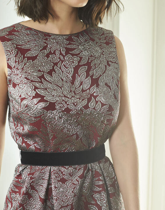 Nocturne Red Jacquard Print Dress (3) - 1-2-3