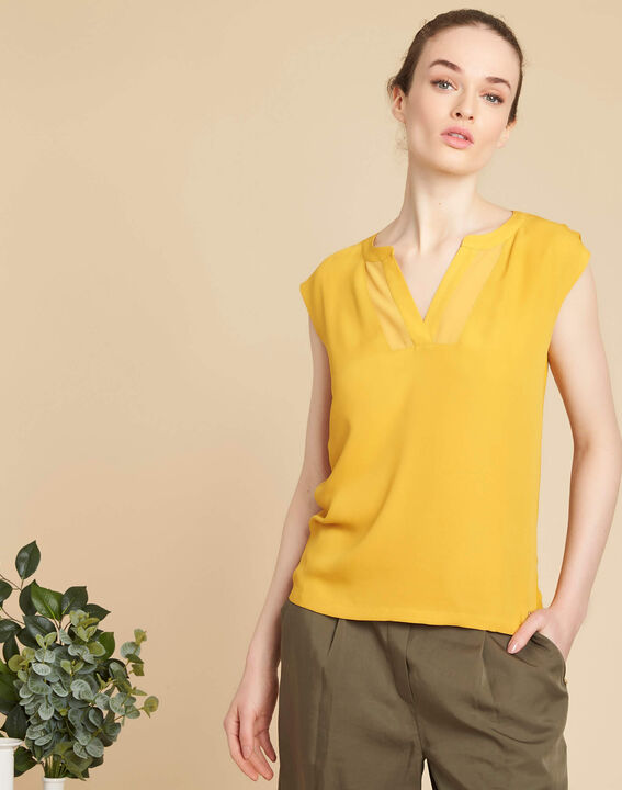 Bianca yellow T-shirt with rounded coated neckline (3) - 1-2-3