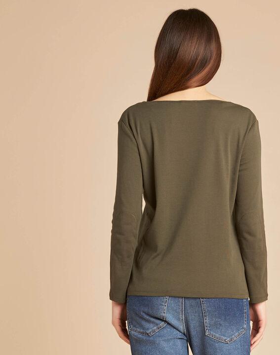 Edith khaki T-Shirt with 3/4 length sleeves (4) - 1-2-3