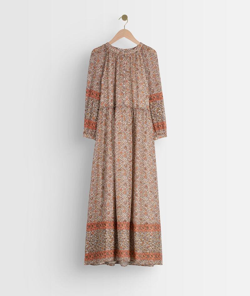 Oudroze lange jurk met print Satine PhotoZ | 1-2-3