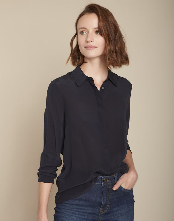 Marineblauw zijden hemd Maelle PhotoZ | 1-2-3