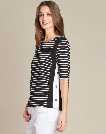 Enjeu fine black striped sweater with decorative band along the neckline black.