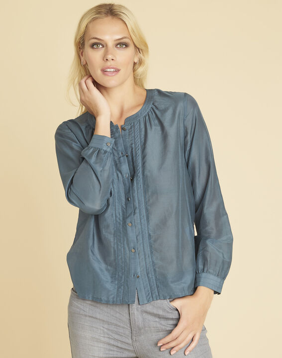 Camille grey cotton/silk blouse with buttons on the front PhotoZ | 1-2-3