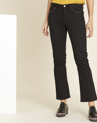 Victor black flared jeans with studded detailing on the pockets black.