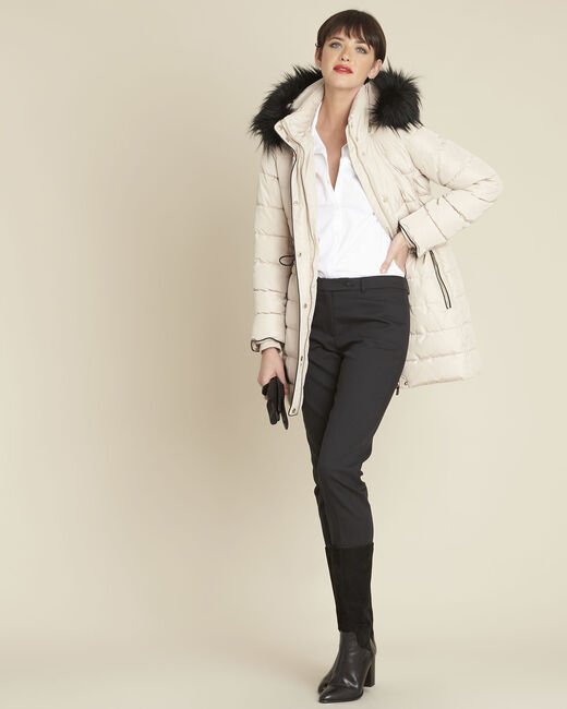 Perrine taupe faux fur hooded down jacket (1) - 1-2-3