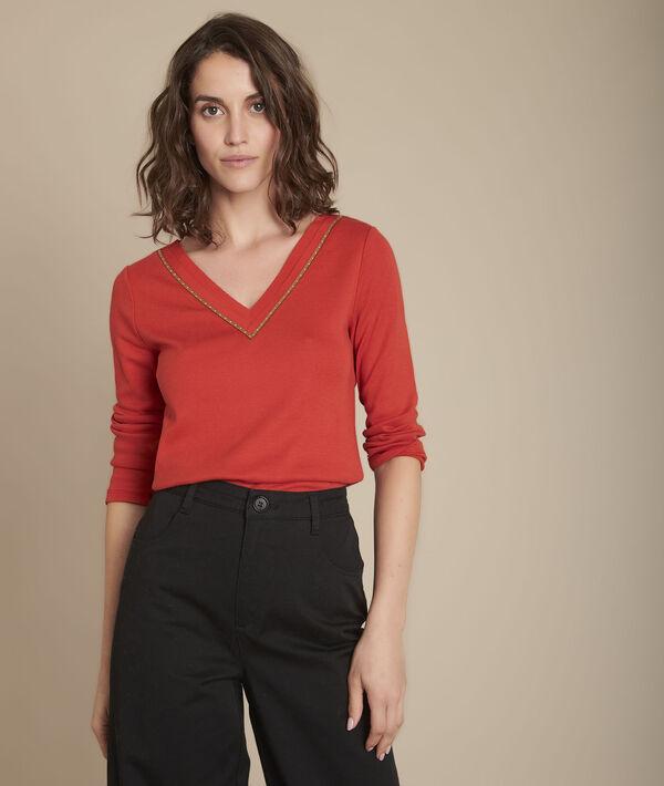 Tee-shirt bimatière col V Carla PhotoZ   1-2-3