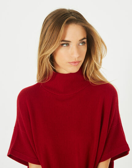 Passiflore Red cashmere cape with polo neck (4) - 1-2-3