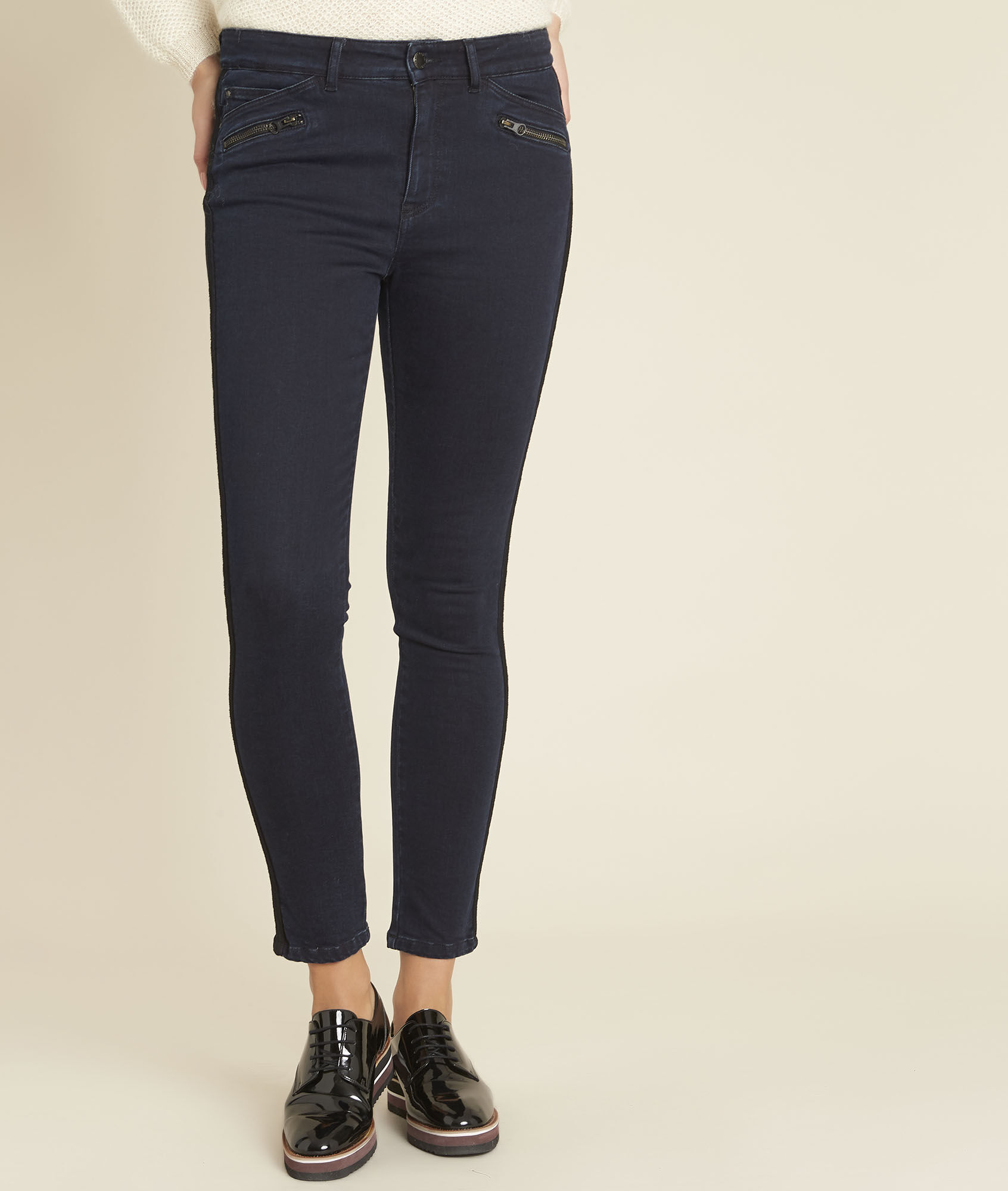 8f64766eff84a5 Vendome midnight blue slim-cut jeans with lace strip (1) - 1-