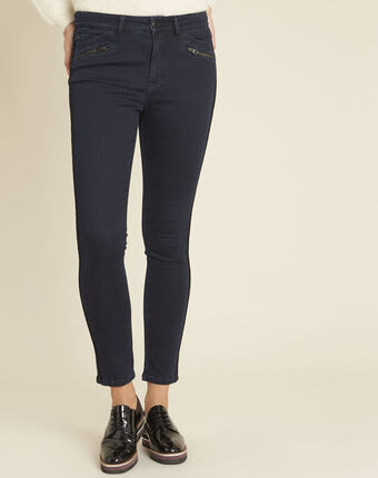 Vendome midnight blue slim-cut jeans with lace strip violet.