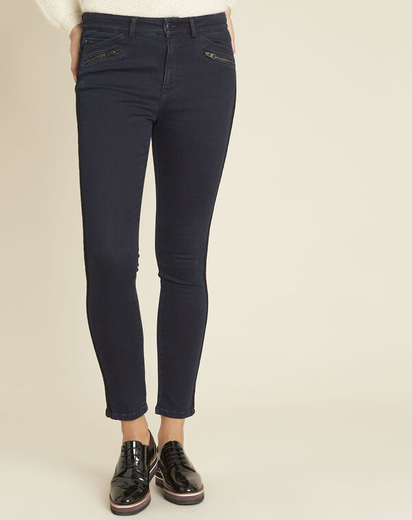 Donkerblauwe slim-fit jeans met kanten band Vendome (1) - 37653