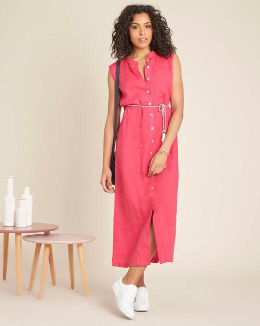 Robe chemise fuchsia en lin longue Papillon (1) - 1-2-3
