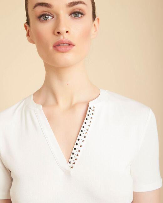 Tee-shirt ecru col mao à perles Episod (1) - 1-2-3
