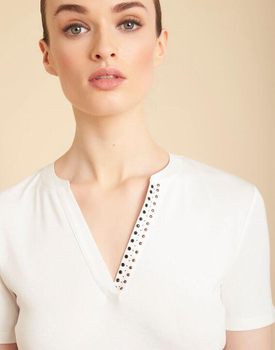 Tee-shirt ecru col mao à perles Episod PhotoZ | 1-2-3