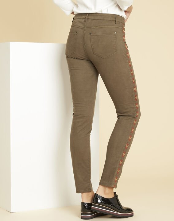 Vendôme khaki 7/8-length jeans with decorative detailing on the side (4) - 1-2-3