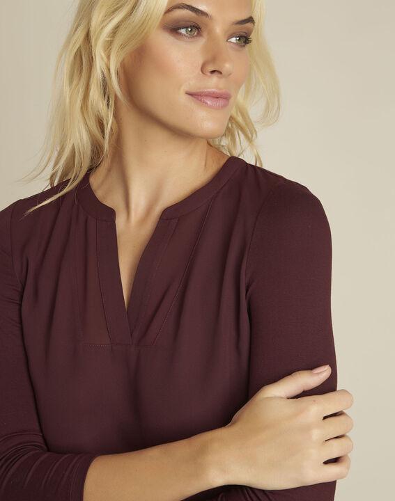 Bianca Bordeaux bi-material blouse with a V-neck (3) - 1-2-3