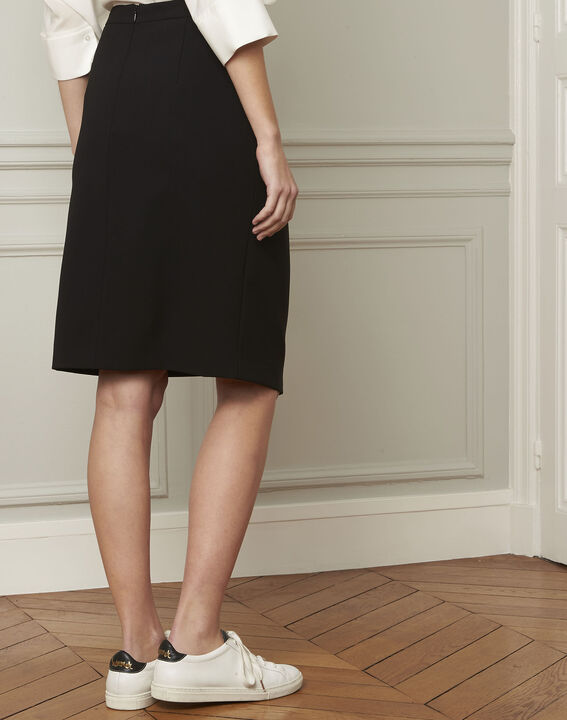 Sabine black skirt with microfibre buttons (3) - Maison 123